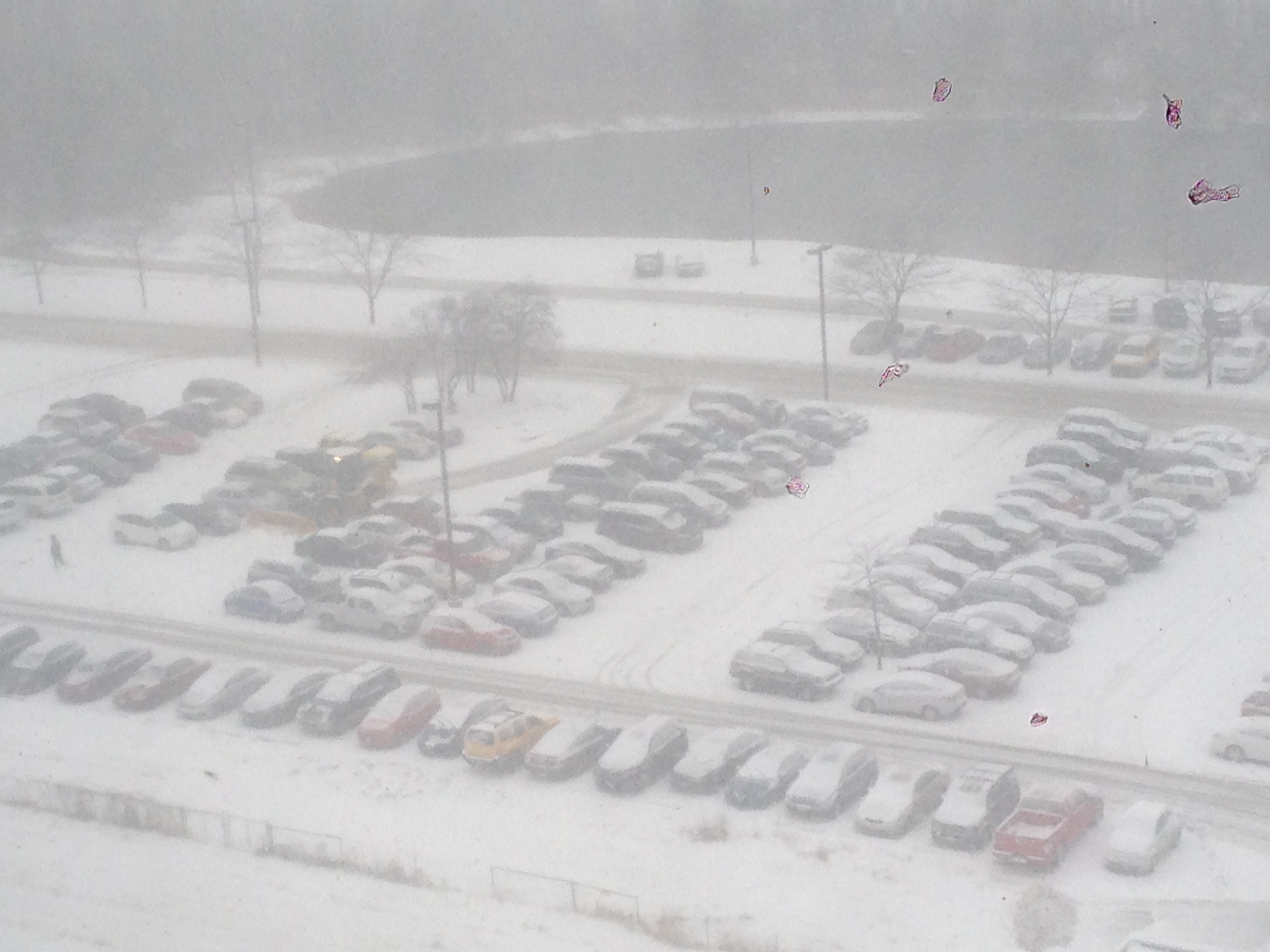 Monday's snowfall blanketed the Wilson Hall parking lot three inches deep. Spring has begun, yet it is still too early to put away the snow shovels. Photo: Lynn Garren, SCD