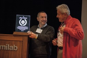 "In 2014, Nigel Lockyer, left, recognized Fermilab scientist Giorgio Bellettini for ""his 35 year dedication to science at Fermilab and for being instrumental in bringing a large international community to the Tevatron program."" Photo: Cindy Arnold"" Photo: Cindy Arnold"