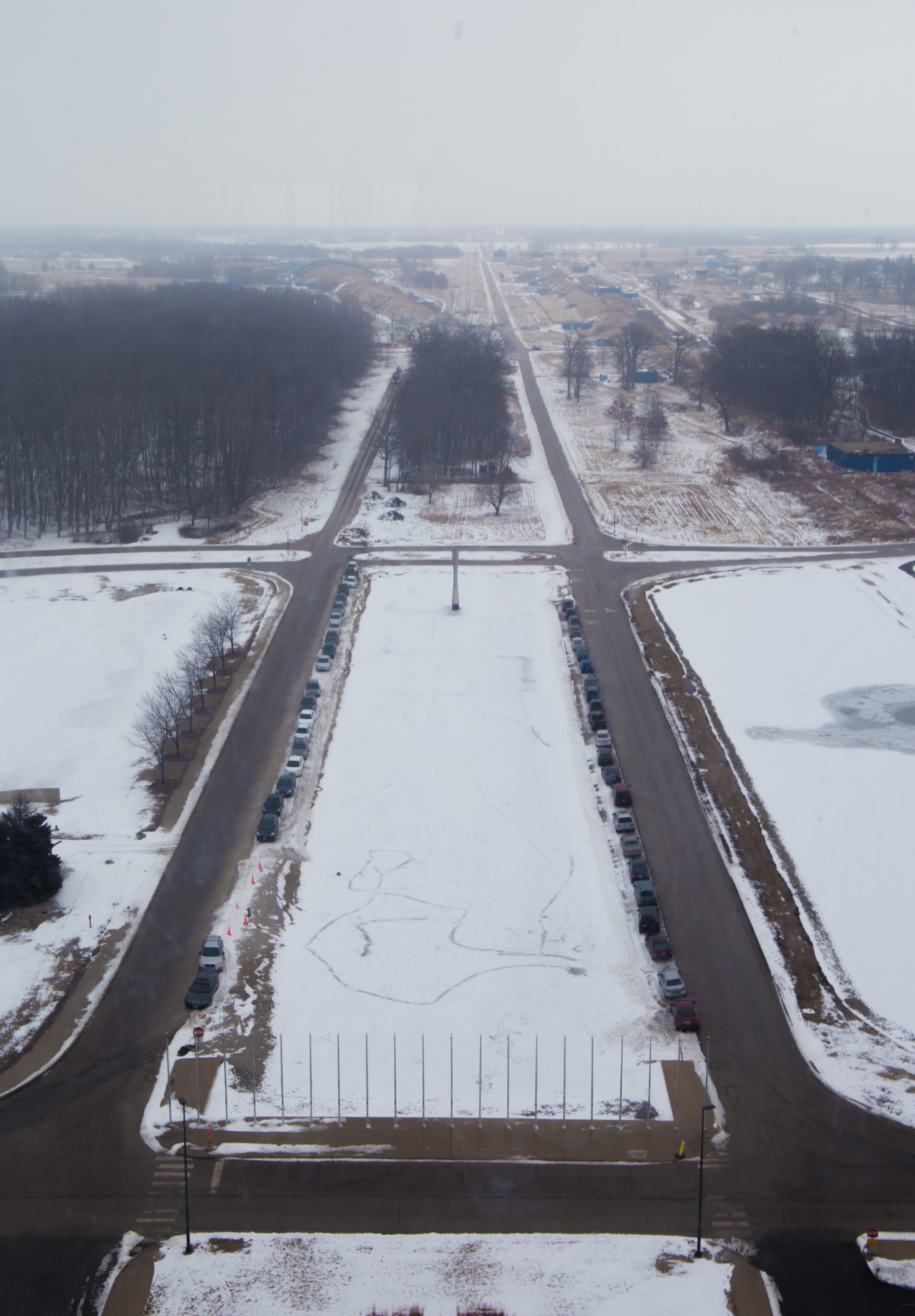 From the 15th floor of Wilson Hall, one can see the way a light blanket of snow covers lab grounds. Photo: Rashmi Shivni