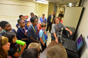 Fermilab will host its first My Brother's Keeper Lab Day on March 29. Pictured here is a snapshot from an event at Sandia Lab, which opened its doors for the 2015 pilot of My Brother's Keeper Lab Day to 50 local underrepresented middle school students. Photo courtesy of Sandia Labs