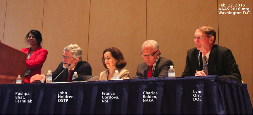 Pushpa Bhat, left, led a panel discussion on the future of science in the United States during a symposium at the recent AAAS meeting.