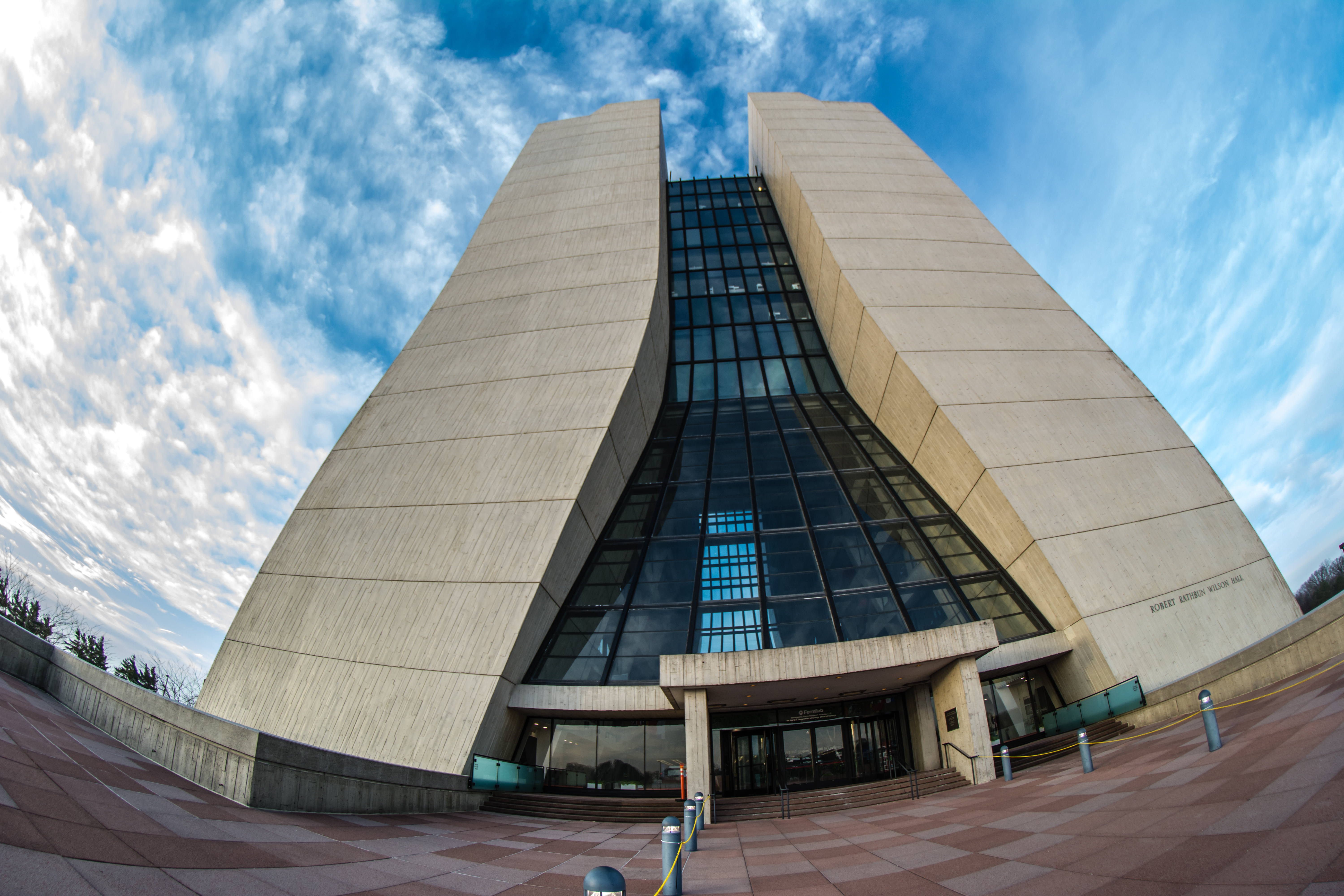 A fisheye lens was used to capture this view of Wilson Hall looking up toward the sky. Photo: Leticia Shaddix, PPD