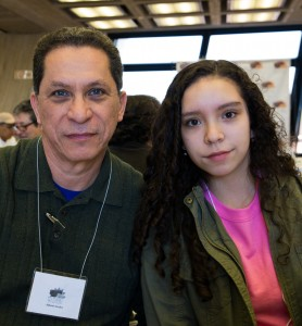 Alberto Avalos and his daughter, Claudia, attended the Latina STEM Conference April 9. The two said they were excited to see the lab and meet other Latinas interested in similar fields of study. Photo: Rashmi Shivni