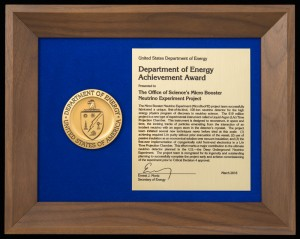 The MicroBooNE project was presented with this award in Arlington, Virginia, on March 23. Photo: Reidar Hahn