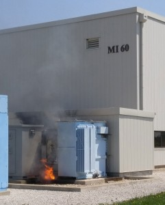 Fermilab staff responded to a fire caused by a failed transformer at MI-60 on Saturday afternoon, April 23. The transformer had to be disconnected from the 13,800-volt power grid before fire fighters could start extinguishing the fire. Photo: Fermilab