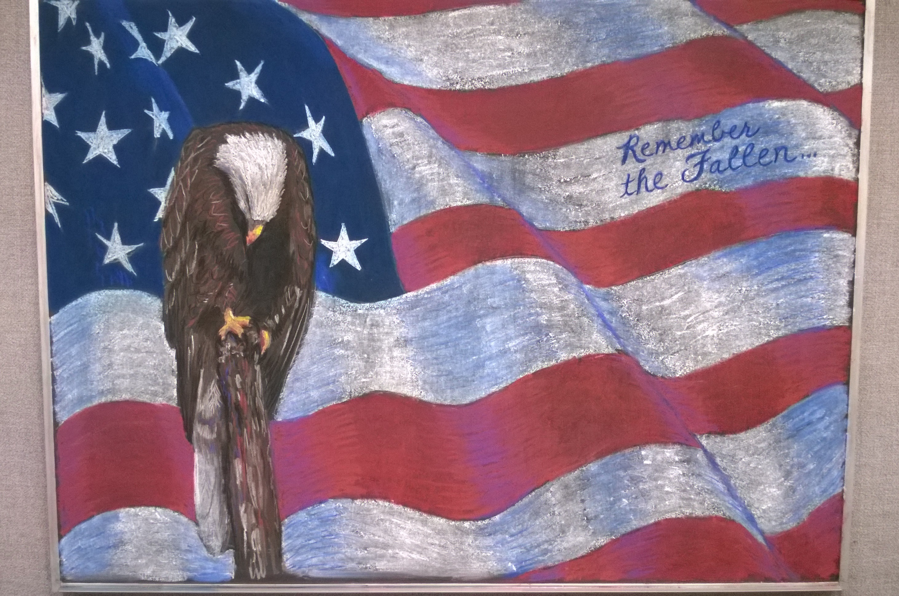 Happy Memorial Day. This chalk drawing was created by Julie Kurnat. Image: Julie Kurnat, TD