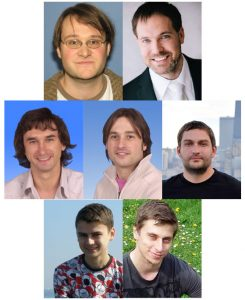 From top left to bottom right: Andreas Jung (Fermilab, now at Purdue University), Jiri Franc (Czech Technical University, Prague, Czech Republic), Slava Shary and Frederic Deloit (CEA Irfu SPP, Saclay, France), Yegor Aushev and Mykola Savitskyi (Taras Shevchenko National University, Kiev, Ukraine) and Michal Stepanek (Czech Technical University, Prague, Czech Republic) are the primary analysts for this measurement.