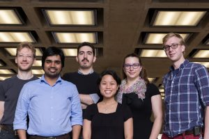 The 2016 Fermilab Student & Postdoc Association officers are, from left, Sebastian Aderhold (Fermilab), Nitin Yadav (Indian Institute of Technology Guwahati), Mateus F. Carneiro (Brazilian Center for Physics Research), Cindy Joe (Fermilab), Elena Gramellini (Yale University), Rob Fine (University of Rochester). Photo: Rashmi Shivni, OC