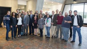 Consul General of Brazil Paulo Camargo (eighth from left) recently visited Fermilab, as did Janaina Solomos (fourth from left), also from the Brazilian consulate. Two directors of Brazilian national labs also visited Fermilab: Brazilian Center for Research in Physics Director Ronald Shellard (11th from left) and National Observatory Director Joao dos Anjos (13th from left). Fermilab Director Nigel Lockyer is 6th from the left. Brazilian scientists at Fermilab include Marcelle Soares-Santos (second from left), Fernanda Garcia (12th from left) and Carlos Escobar (sixth from right). Scientists at Brazilian institutions include Mateus Carneiro of the Brazilian Center for Physics Research (3rd from left) and Ernesto Kemp of the State University of Campinas (fourth from right) Photo: Reidar Hahn