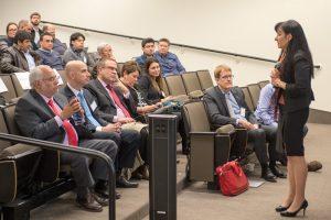 Fermilab Director for International Relations Marcela Carena addresses workshop attendees. Photo: Reidar Hahn