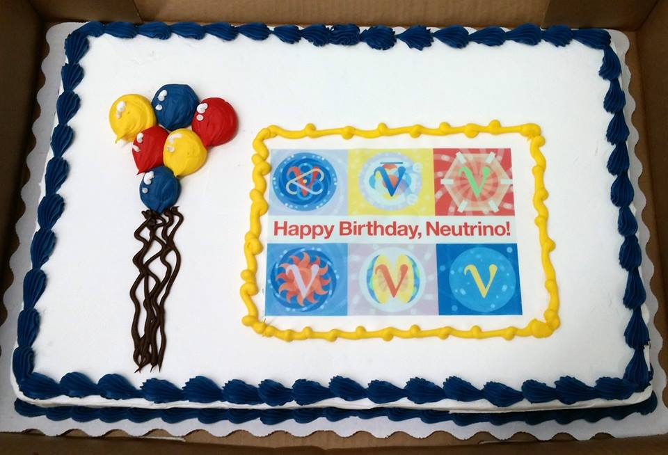"""On Tuesday, Fermilab celebrated the 60th anniversary of the discovery of the neutrino with cake in the Wilson Hall atrium. On June 14, 1956, Los Alamos scientists Clyde Cowan and Frederick Reines sent a telegram to Wolfgang Pauli confirming they had """"definitely detected neutrinos."""" Photo: Lauren Biron"""