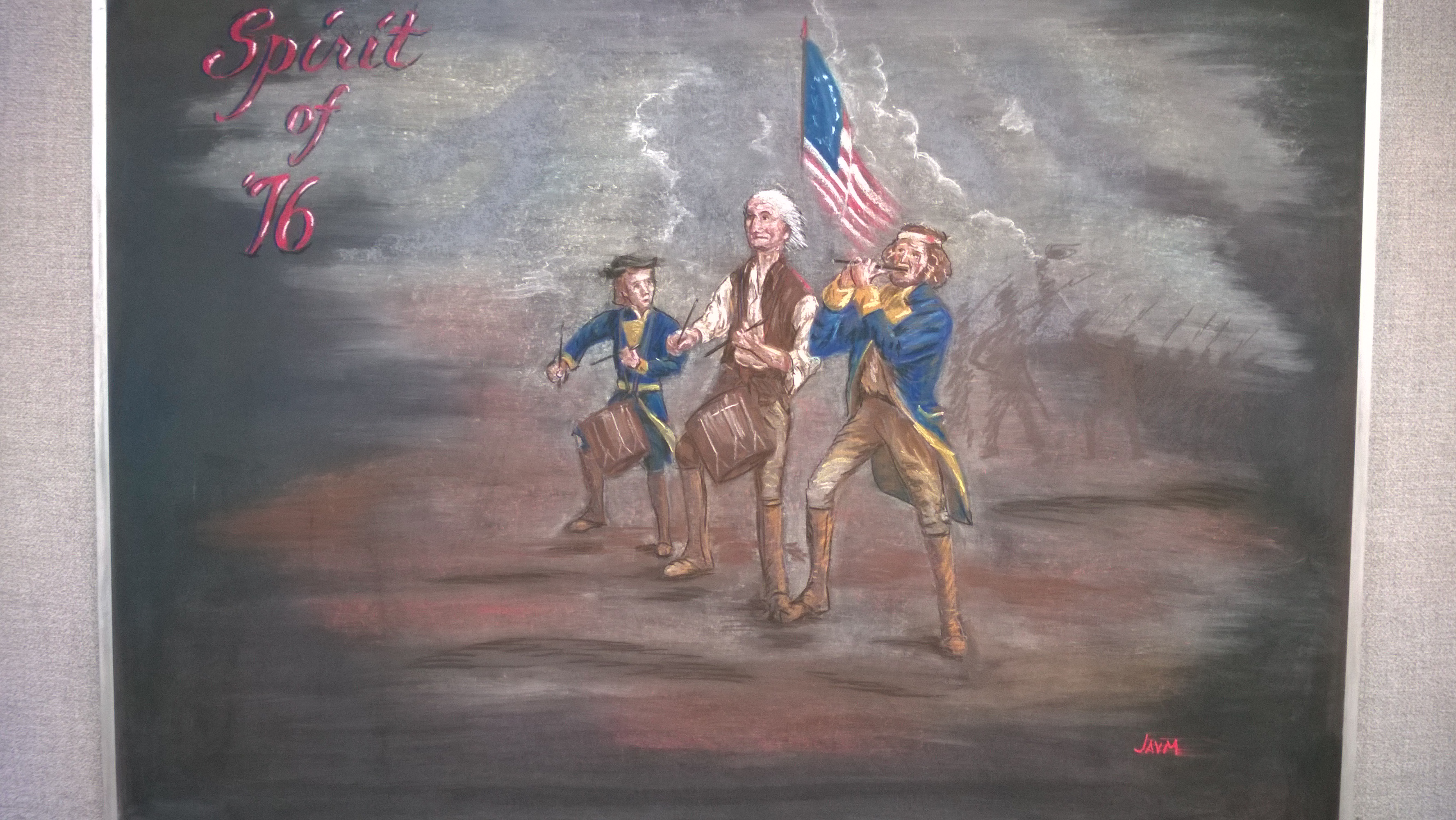 Julie Vander Meulen drew this chalk drawing for Independence Day 2016: The Spirit of '76. Photo: Julie Vander Meulen