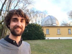 Daniel Grün stands near the University Observatory in Munich. The picture was taken just half an hour after submitting his thesis. Photo courtesy of Daniel Grün