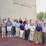 Some of the 54 physicists of the DONUT collaboration in front of Wilson Hall at Fermilab.