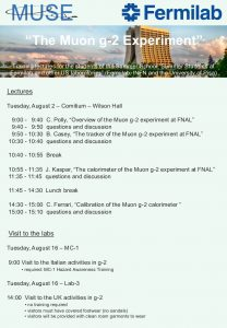 Muon g-2 experiment seminars on August 2, 2016