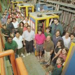 Members of the NuTeV collaboration, shown here in 1996 with their detector. NuTeV includes scientists from the University of Cincinnati, Columbia University, Fermilab, Kansas State University, Northwestern University, the University of Oregon, the University of Pittsburgh and the University of Rochester.