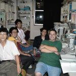 The computer room of the DONUT analysis group at Nagoya University with (from left to right) N. Nonaka, O. Sato, T. Nakano, K. Ito and Turanmeru.
