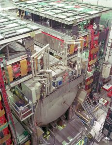 The DZero detector records particles emerging from high-energy proton-antiproton collisions produced by the Tevatron. For this measurement of CP violation, scientists analyzed 10 trillion collisions collected over the last eight years. Credit: Fermilab