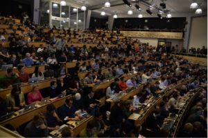 A packed house in the CERN auditorium awaits a presentation from Jim Olsen from Princeton University on December 15, 2015. That presentation summarized the 2015 results from CMS, including an unexpected bump (see below). Photo: CERN