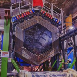 The front face of the MINERvA Detector sits in its underground home near the end of construction. This front face is no longer visible because of the helium target that was installed upstream. Photo: Reidar Hahn.