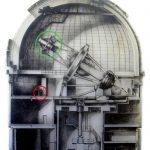 The 4 meter Blanco telescope. The green circle marks the location of the prime focus cage where the Dark Energy Camera will be mounted. Credit: CTIO/AURA/NSF