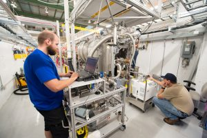 Tests on the protoype cryomodule began in late July. Photo: Reidar Hahn