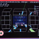 A screen shot of a top quark event recorded by the DZero experiment during Tevatron Collider Run I (1992-1996).