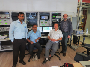 From left: Surajit Ghosh, Pranab Bhattacharya (VECC), Dmitri A. Sergatskov and Alex Melnitchouk (Fermilab) contributed to this project. Here they are pictured in the Vertical Test Stand Control Room at the Fermilab Technical Campus. Photo courtesy of Surajit Ghosh