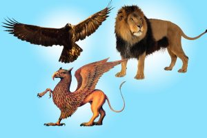 The gryphon is a mythical beast with the head of an eagle and the hindquarters of a lion. Physicists look for a proposed particle hybrid of a quark and a lepton. This theoretical particle is called a leptoquark.