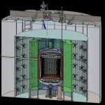 A cutaway rendering of the LUX-ZEPLIN (LZ) detector that will be installed nearly a mile deep near Lead, S.D. The central chamber will be filled with 10 metric tons of purified liquid xenon that produces flashes of light and electrical pulses in particle interactions. An array of detectors, known as photomultiplier tubes, at the top and bottom of the liquid xenon tank are designed to pick up these particle signals. (Matt Hoff/Berkeley Lab)