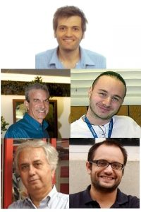 These physicists were responsible for this analysis: Top row: Luigi Marchese (Oxford University). Second row from left: Jeffrey Appel (Fermilab), Manuel Mussini (INFN and University of Bologna). Third row from left: Luciano Ristori (Fermilab) and Diego Tonelli (CERN).