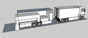 Fermilab scientists and engineers have patented a technology that could prolong the lifetime of roads by treating them with electron beams. In this conceptual drawing, four accelerators, which would emit the electron beams, sit in a mobile trailer. The truck pulling the trailer would hold a power generator for the accelerators. Image courtesy of Bob Kephart and Charlie Cooper
