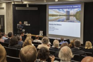 Fermilab Director Nigel Lockyer gives the Future of Fermilab Address to more than 100 attendees. Photo: Cindy Arnold