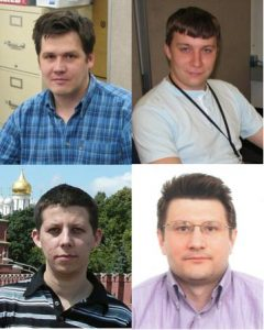 Dmitri Bandurin (U. Virginia), Georgy Golovanov and Alexander Verkheev (JINR, Dubna, Russia), Peter Svoisky (U. Oklahoma) and, not pictured, Philipp Gaspar (LAFEX, CBPF, Rio de Janeiro, Brazil) are the primary analysts for this measurement.