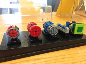 Head to the Fermilab Library to see Lego models of LHC detectors. From left: ALICE, CMS, ATLAS, an LHC magnet and LHCb.