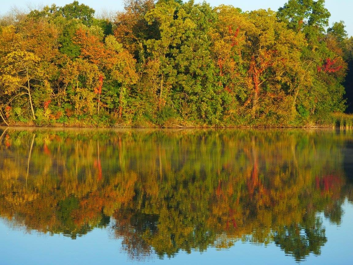 The feature in this fall Friday photo is a lake effect, not of precipitation, but of reflection. Double your colors. Photo: Amy Scroggins