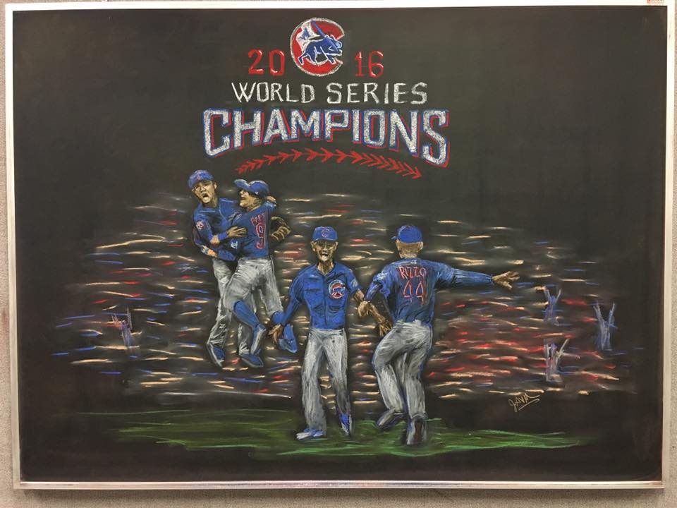 Julie Vander Meulen created this celebratory chalk drawing in honor of the Chicago Cubs finally winning the World Series. Image: Julie Vander Meulen