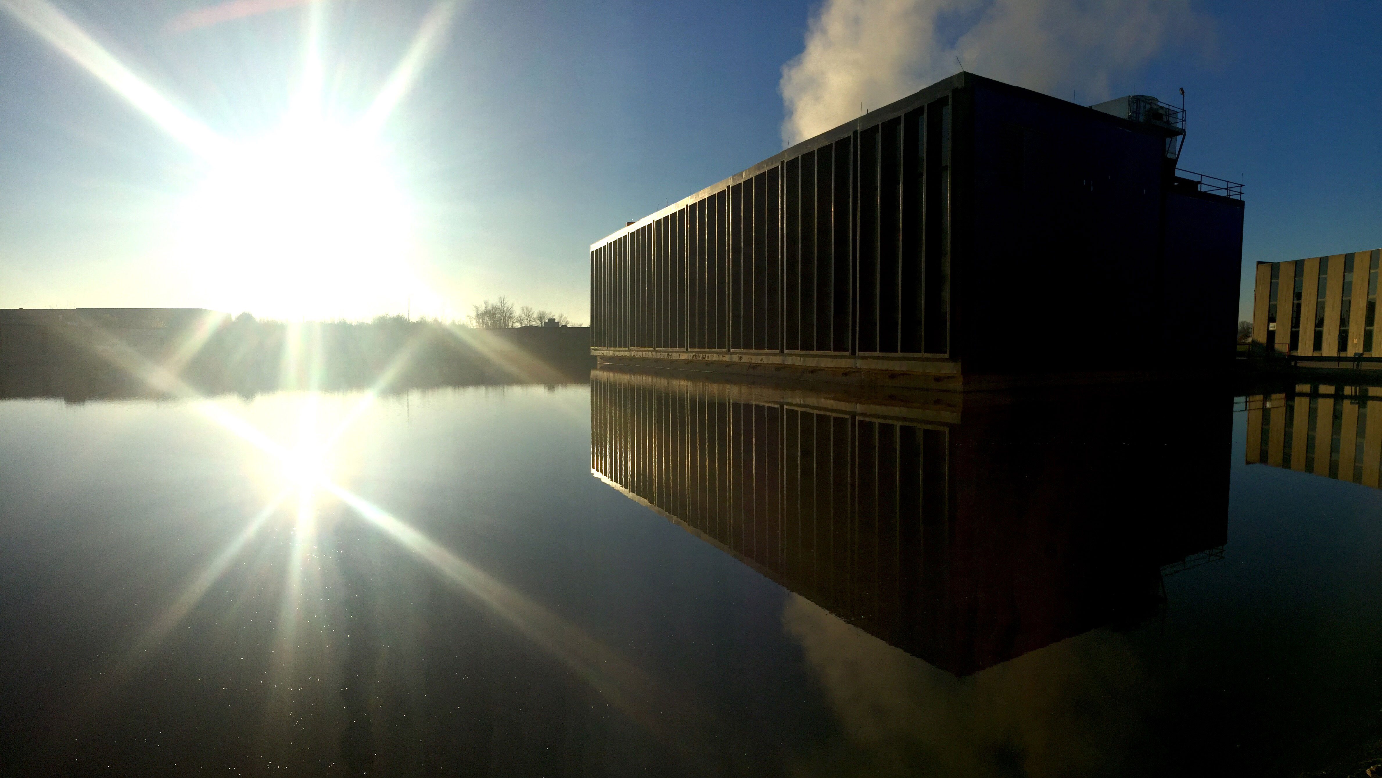 Throwback to fall: The sun shines bright on the Central Utility Building. Photo: Marty Murphy