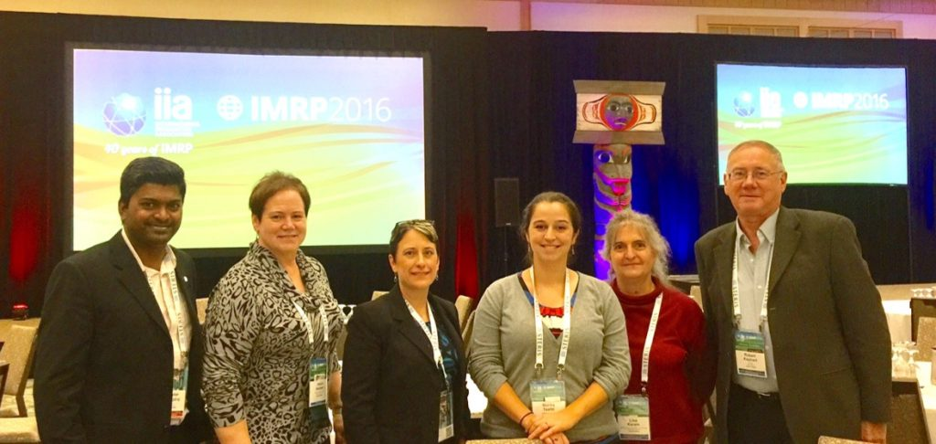 Funding agencies and future partners recently met at IMRP 2016, Vancouver, Canada. From left: Charles Thangaraj (Fermilab), Joyce Hansen (Johnson & Johnson), Kristin Hirsch (NNSA), Malika Taalbi (NNSA), Lisa Karan (NIST), Bob Kephart (Fermilab). IMRP is the biannual meeting of the International Irradiation Association and hosts the largest collection of users of radiation technology for industry and medicine. Photo courtesy of Charles Thangaraj
