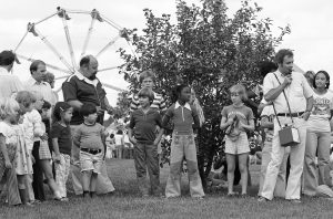 The NALREC picnics of the early days featured games, rides and dunkings in the dunk tank. Photo: Fermilab