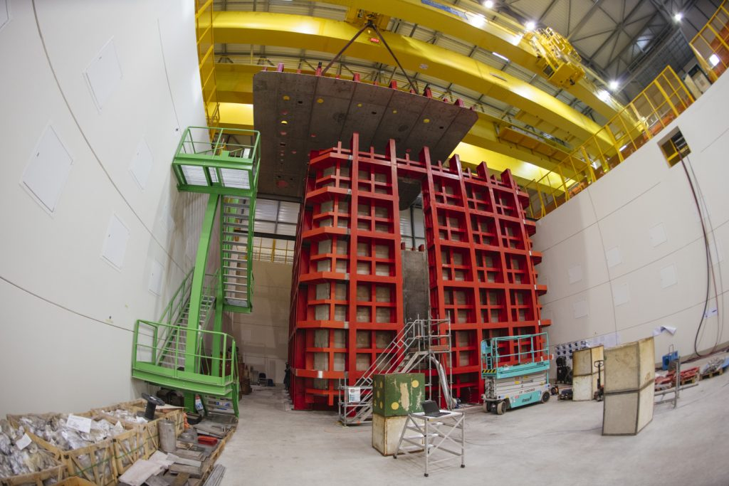 The construction at CERN for prototypes of the future Deep Underground Neutrino Experiment detector is under way. Seen here is the outer structure of the cryostat for the single-phase ProtoDUNE. Photo: Maximilien Brice, CERN