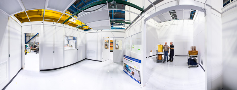 This panoramic view shows the new SuperCDMS SNOLAB cleanroom at Lab G, with SuperCDMS spokesperson Dan Bauer and senior technical specialist Mark Ruschman. Photo: Reidar Hahn