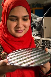 Farah Fahim develops 3-D integrated circuits for particle detectors. Photo: Reidar Hahn