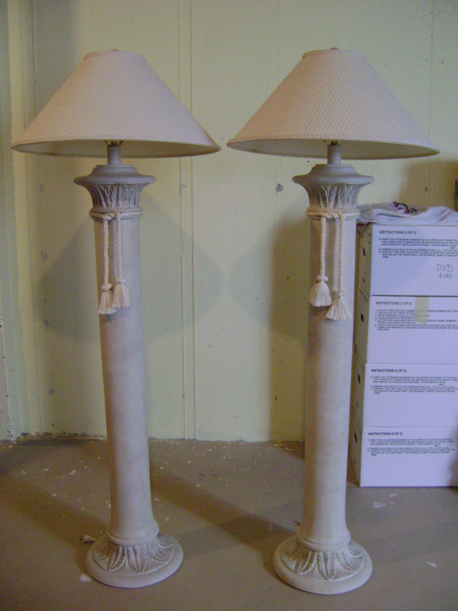two ceramic floor lamps