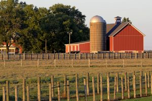 barn and pasture, building, barn, sunset, nature, landscape