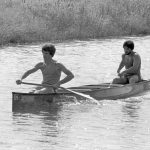 On Sept. 20, 1980, David Carlson and Steve Conlon set a new world record in Fermilab's Main Ring Canoe Race, demolishing the old record of 45:19 with the astonishing time of 41:17. Photo: Fermilab