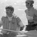 John Cumulat and George Luste won the second straight Main Ring Canoe Race in 1978. They'd won the last four-mile paddle held in 1976. Their 1978 time was 49:33. Photo: Fermilab