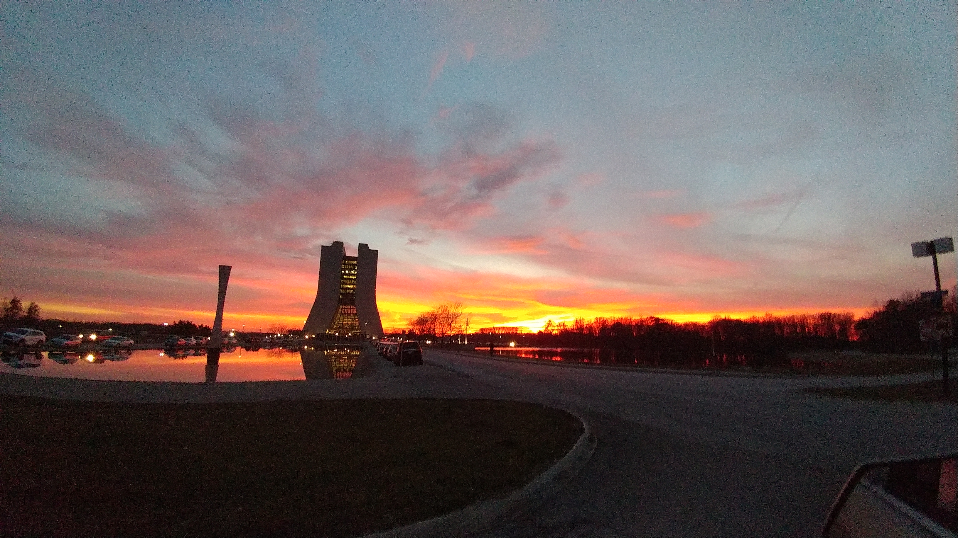 This is the sunset Fermilab workers saw as they left on Nov. 27. Photo: Jackie Zolna, sunset, sky, building, sun, landscape