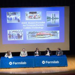 A panel discusses the future of superconducting magnets and accelerators in science: Jennifer Bernhard (University of Illinois at Urbana-Champaign), Kathleen Amm (GE Medical Systems), Joseph Minervini (MIT), Herman Ten Kate (CERN), Alexander Romanenko (Fermilab). Photo: Reidar Hahn