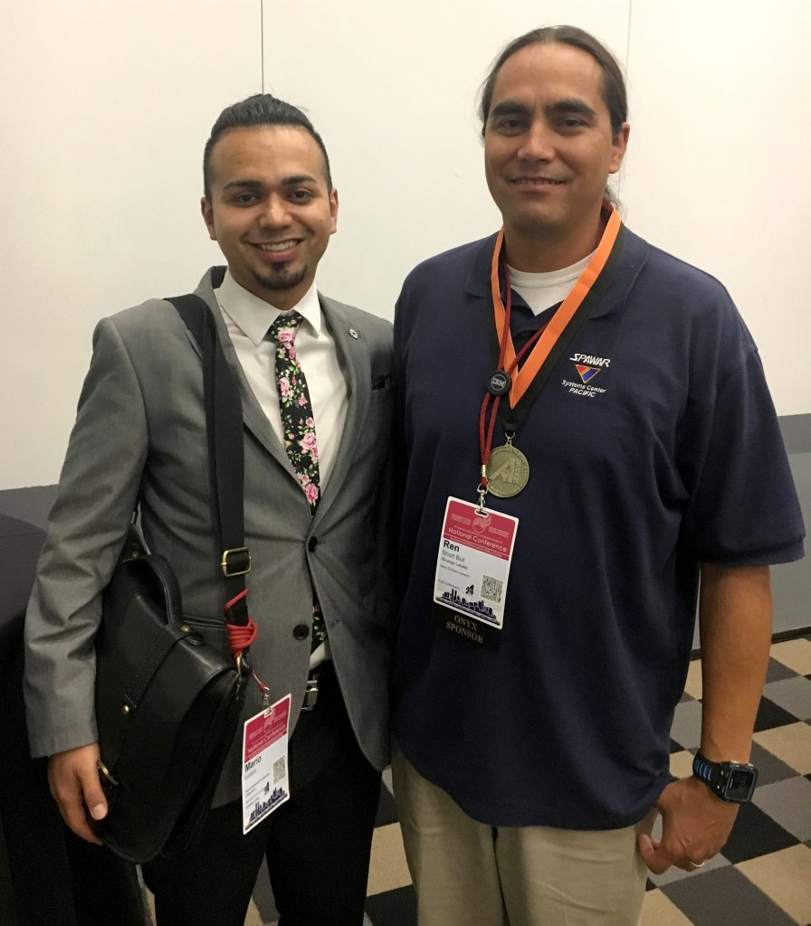 Mario Lucero, left, and Lawrence Shortbull attend the AISES 40th-anniversary celebration. Photo courtesy of Mario Lucero